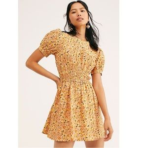 Free People Pennie Yellow Floral Mini Dress